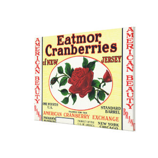 American Beauty Eatmor Cranberries Brand Label Stretched Canvas Prints