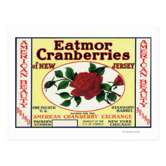 American Beauty Eatmor Cranberries Brand Label Postcards