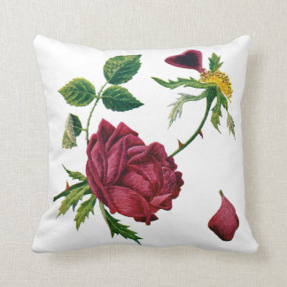 American Beauty Rose Faux Crewel Embroidered Pillo Throw Pillow