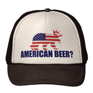 American Beer?  US Flag Bear With Antlers Hat