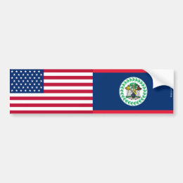 American & Belizean Flags Bumper Sticker