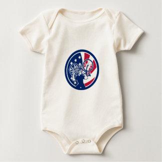 American Bike Mechanic USA Flag Mascot Baby Bodysuit