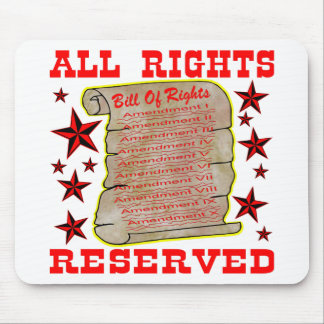 American Bill Of Rights All Rights Reserved Mousepad