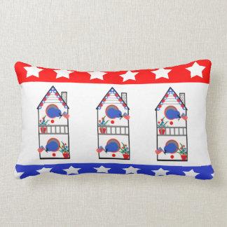 """""""American Birdhouse Trio"""" Patriotic Lumbar Pillow"""