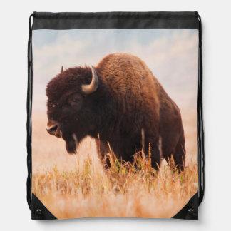 American Bison (Bison Bison) Herd In Teton 2 Drawstring Backpack