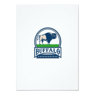 American Bison Buffallo Banner Circle Woodcut Card