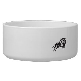 American Bison Buffalo Jumping Woodcut Bowl