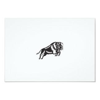 American Bison Buffalo Jumping Woodcut Card