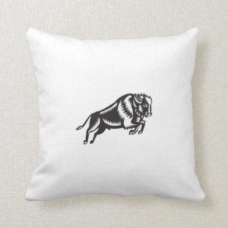 American Bison Buffalo Jumping Woodcut Throw Pillow
