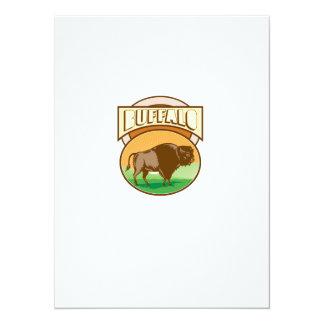 American Bison Buffalo Oval Woodcut Card