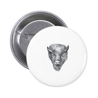 American Bison Head Watercolor Pinback Button