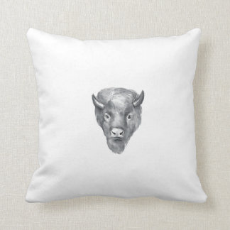 American Bison Head Watercolor Throw Pillow