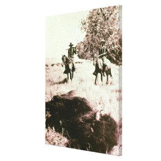 American Bison Hunters (b/w photo) Canvas Print