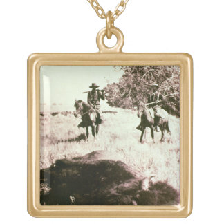 American Bison Hunters (b/w photo) Gold Plated Necklace