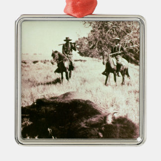 American Bison Hunters (b/w photo) Metal Ornament