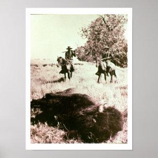 American Bison Hunters (b/w photo) Poster