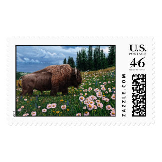 American Bison - No Time For Flowers Postage Stamps