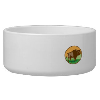 American Bison Oval Woodcut Bowl