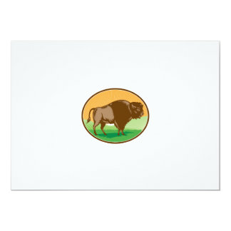 American Bison Oval Woodcut Card