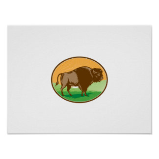 American Bison Oval Woodcut Poster