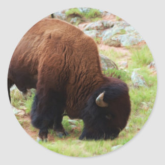 American Bison Painting Classic Round Sticker