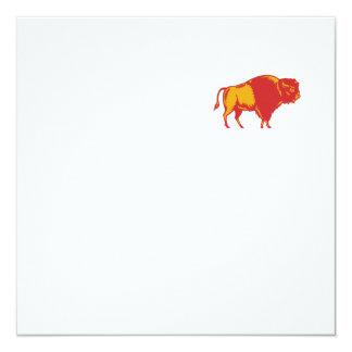 American Bison Side Woodcut Card