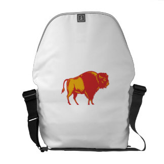 American Bison Side Woodcut Courier Bag