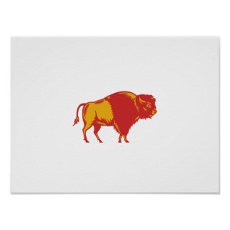 American Bison Side Woodcut Poster