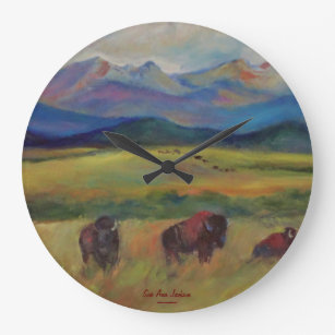 American Bison under the Spanish Peaks Large Clock