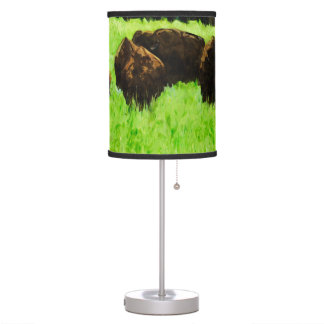 American Bison With Young Abstract Impressionism Desk Lamp