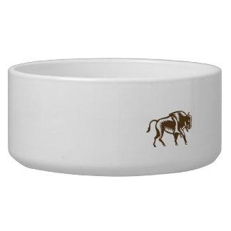 American Bison Woodcut Bowl