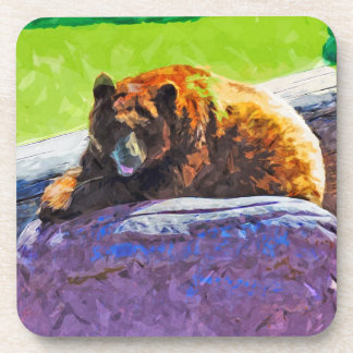 American Black Bear at Rest Abstract Impressionism Coaster