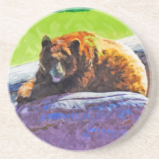 American Black Bear at Rest Abstract Impressionism Sandstone Coaster