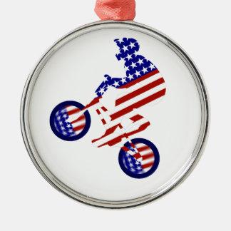 American BMX Rider Round Metal Christmas Ornament