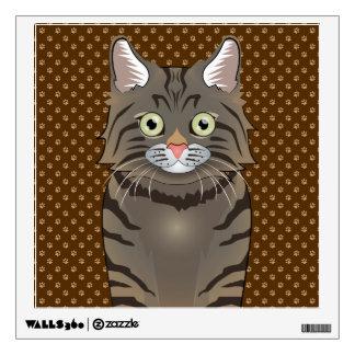 American Bobtail Cat Cartoon Paws Wall Decal
