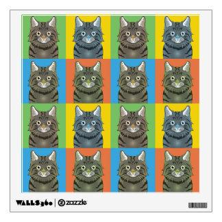 American Bobtail Cat Cartoon Pop-Art Wall Sticker