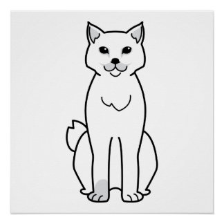 American Bobtail Cat Cartoon Poster