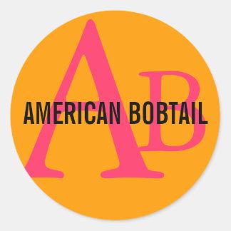 American Bobtail Monogram Design Classic Round Sticker