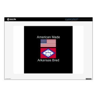 """""""American Born..Arkansas Bred"""" Flag Design 15"""" Laptop Skin"""