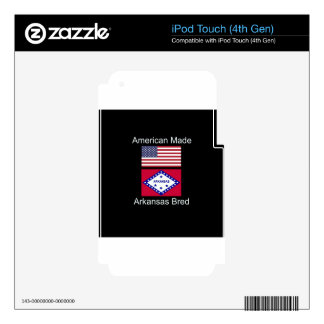 """""""American Born..Arkansas Bred"""" Flag Design iPod Touch 4G Decals"""