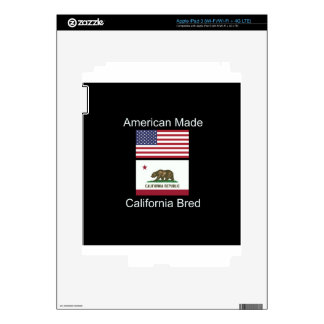 """American Born..California Bred"" Flag Design iPad 3 Skins"