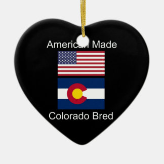 """American Born..Colorado Bred"" Flag Design Ceramic Ornament"