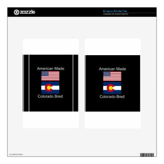 """""""American Born..Colorado Bred"""" Flag Design Kindle Fire Skin"""