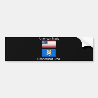 """American Born..Connecticut Bred"" Flag Design Bumper Sticker"