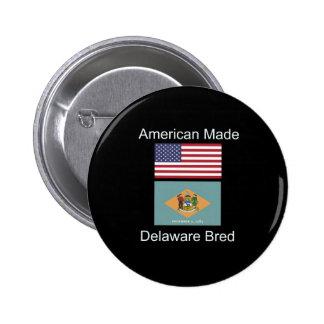 """""""American Born..Delaware Bred"""" Flag Design Pinback Button"""