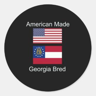 """American Born..Georgia Bred"" Flags and Patriotism Classic Round Sticker"