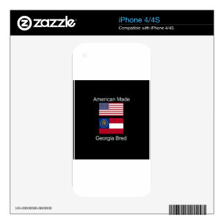 """American Born..Georgia Bred"" Flags and Patriotism Skin For The iPhone 4"