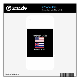 """American Born..Hawaii Bred"" Flags and Patriotism Decals For iPhone 4"