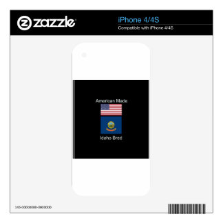 """American Born..Idaho Bred"" Flags and Patriotism iPhone 4S Decals"
