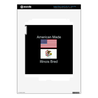 """American Born..Illinois Bred"" Flag Design Skin For iPad 3"